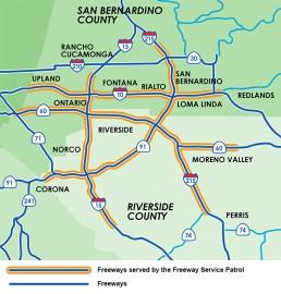 RCTC Freeway Service Patrol Area Map