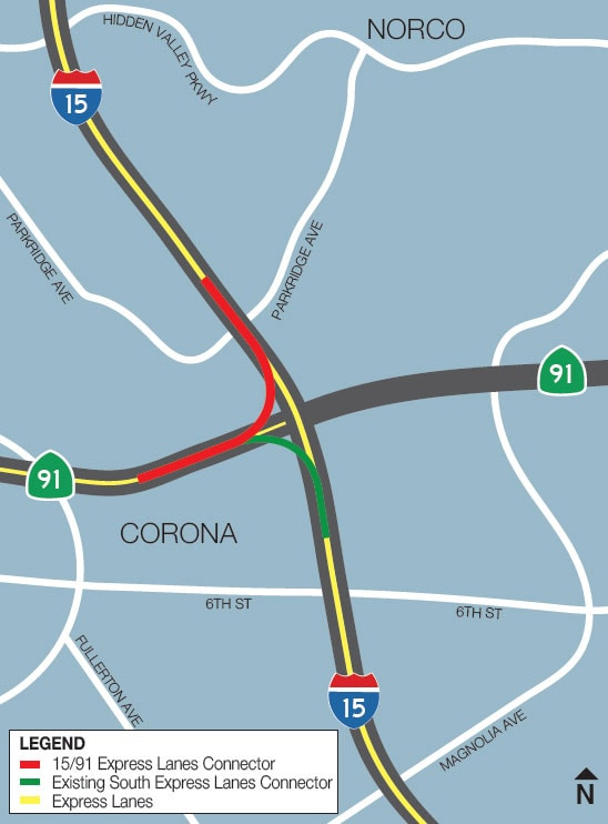 RCTC I-15/SR-91 Express Lanes Connector Project map image