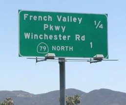 Photo of french valley parkway miles to exit sign