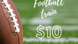 photo of football with text saying football train $10