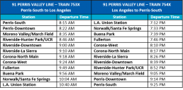 Perris Valley Line schedule